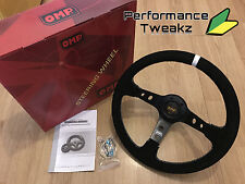 NEW UNIVERSAL BLACK OMP 350MM SUEDE WHITE STRIPE DEEP DISH RACING STEERING WHEEL