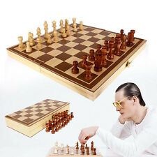 Kids Baby Children Wooden Chess Set Folding Board Box Wood Hand Carved Toy