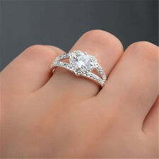 Fashion Women Bridal Ring Wedding Silver Plated Crystal Love Heart Ring Size 9