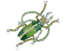 GB Peridot Paint Enamel Diamante Rhinestone Beetle Bug Jewelry Brooch Pin