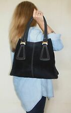 $1250. genuine TOD'S Italy SHOULDER PURSE Black COUTURE Suede Leather TOTE