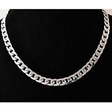 Cadena para hombre acero inoxidable de tono plata collar de eslabón cubano 50cm