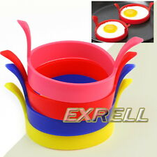 4x Moule Oeuf Egg Omelettes Crêpes Plat Ronde Silicone Cuisine Frire Outils