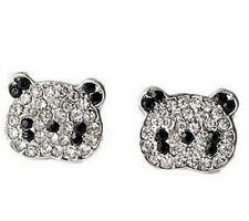 Super cute silver tone panda stud earrings w/ crystal