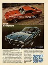 1969 FORD MUSTANG SHELBY GT 350 / 500 A3 POSTER AD SALES BROCHURE MINT SET OF 2