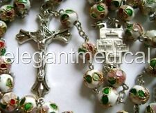 * white HANDMADE CLOISONNE ROSE BEADS ROSARY & CROSS CRUCIFIX CATHOLIC NECKLACE