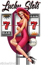 Sexy Glam PinUp RedHead Lucky Slots Gambling Vegas Sticker OOP By Ralph Burch
