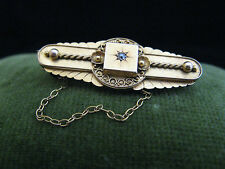 Quality 19thC 15Ct yellow gold diamond brooch Victorian Estate Chester Hallmark