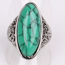 Trendy Tibetan Silver US Size 9 Women Mens Goose Egg Turquoise Ring Jewelry D877