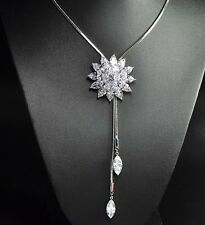 Vintage Crystal Snowflake Frozen Flower Silver Sweater Chain Pendant Necklace