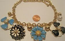 Necklace Flower Blue Black White Pearl Rhinestone Charms 3D Amazing NWT L857