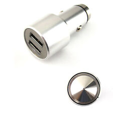 Silver Metal Smart Car Charger Dual USB Glass Breaker Safety Hammer For Samsung