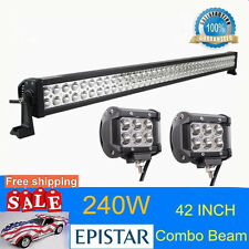 42''240W LED Light Bar Flood Spot Combo Offroad 4WD SUV Boat Driving Lamp 18W