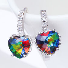 Women Fashion Jewelry Heart Rainbow Mystic Topaz 925 Silver Hoop Stud Earrings