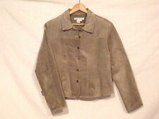 A.M.I. button front suede leather lined olive jacket / women's L / great / b5