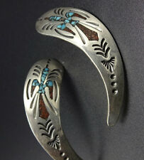 Vintage NAVAJO Hand-Stamped Sterling Silver CORAL TURQUOISE Chip Inlay EARRINGS