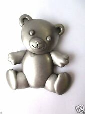 LARGE JJ Pewter Teddy Bear SIGNED pin brooch Jonette Jewelry FREE SHIP Large