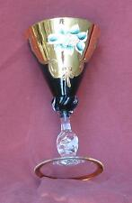 Moser - Bohemian Czech - 4 Teal Glass Champagne Wine Stems - Gold Trim