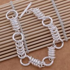 925 Sterling Silver Casual Fashion Casual Ring Linked T- Bar Chunky Bracelet