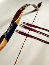 Good set handmade bow recurve bow leather hunting bow20#-60#+3 bamboo arrows