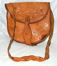 Vintage Mexican Hand Tooled with Flowers Distressed Leather Brown Shoulder Bag