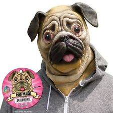Deluxe Pug Mask Dog Lover Pooch Halloween Costume Latex Adult Gag Gift Novelty