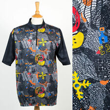 VINTAGE 90'S 80'S CRAZY RETRO PATTERN CYCLING SHIRT JERSEY ROAD BIKER HIPSTER XL