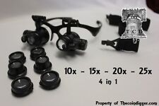 20x Magnifier LED Binocular Dual Magnifying Glasses Adjustable 4 in 1 Coin Grade