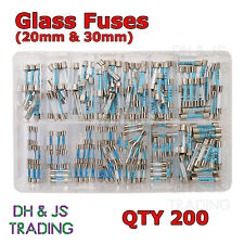 Assorted Box of Glass Fuses 20mm - 30mm Fuse Qty 200 Quick Blow Fast Acting