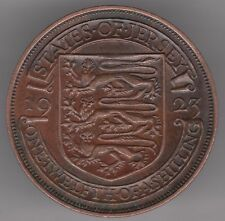 Jersey 1/12 of a Shilling 1923 Bronze Coin - Three Lions in Shield