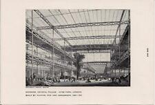 1950s Print Int Crystal Palace Hyde Park LONDON Built By PAXTON FOX & HENDERSON