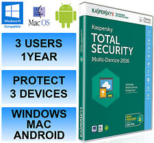 Kaspersky Total Internet Security 2016 Multi Device 3 User 1 Year DVD Retail Box