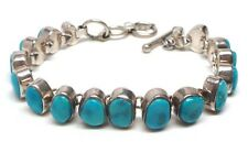 Old Pawn Navajo Handmade Sterling Silver Blue Ridge Turquoise Bracelet