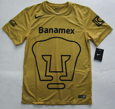 Men's Nike Pumas UNAM Home Soccer Jersey, New Gold Navy Dri-Fit Shirt FMF Sz M