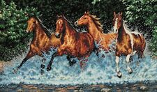 "Galloping Horses Cross Stitch Kit - Dimensions Gold Collection - 18"" x 10"""