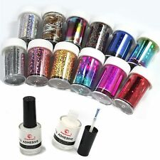 Nail Art Transfer Foil 12 Colors Sticker for Nail Tip Decoration &2 Glue Set new