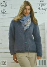 KNITTING PATTERN Ladies Long Sleeve V Neck Easy Knit Cardigan Super Chunky 4065