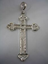 CROSS PENDANT WITH DIAMOND CUT AND LASER CUT FINISH IN STERLING  SILVER