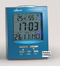 Réveil radio-piloté bleu avec affichage température et date, Atlanta - 2 alarmes