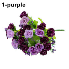 1 Bouquet 21 Head Artifical Plastic Rose Wedding Office Home Decor Silk Flowers