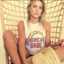 ❤️THE LAUNDRY ROOM❤️ Indie Designer Tattered ��American Babe�� Tee Shirt Trendy