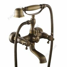 Antique Brass Victorian Vintage Clawfoot Bath Tub Faucet Handshower Wall Mount