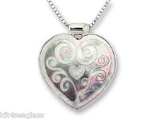 """Zarah Have HEART NECKLACE Black Mother of Pearl Shell Art 18"""" STERLING Chain Box"""