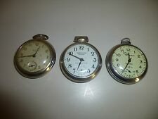Lot 3 Vintage Pocket Watches For Parts Repairs Ingraham Westclox Scotty