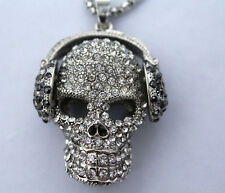 N5# Betsey Johnson Sparkling silver crystal with headphones skull necklace
