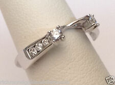 14k White Gold Diamonds Station Solitaire Wrap Ring Guard solitaire enhancer