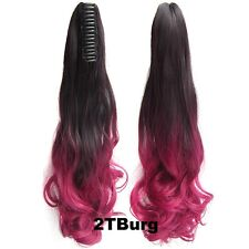 """22"""" Claw Pony tail Colorful Ombre Ponytail Hair Extensions Wavy Curly Style"""