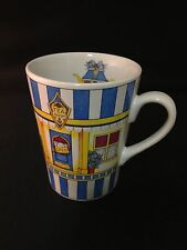 Mud Pie TEA ROOM Coffee Mug Cup Blue White Stripes  4 1/2""