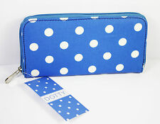 Ladies Womens Purse Wallet Zip Blue Spotted Clutch Trendy Polka Dot Gift Present