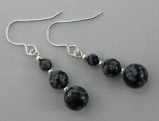 Beautiful Triple Snowflake Obsidian Beads & Sterling Silver Drop Earrings